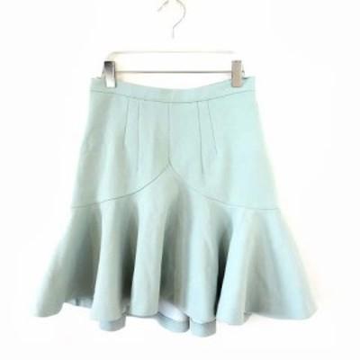 【中古】ミラーオブシンゾーン MIRROR OF Shinzone ペプラムスカート 裾フレア ヘムライン ミントグリーン 36 M レディース