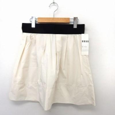 【中古】未使用品 インデックス INDEX タグ付き スカート フレア 膝丈 シンプル バックジップ L ホワイト /ST5