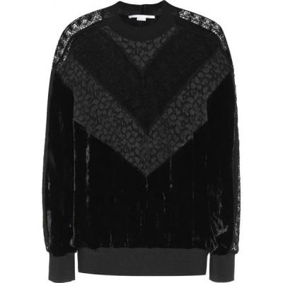 ステラ マッカートニー Stella McCartney レディース スウェット・トレーナー トップス lace and velvet sweatshirt Black