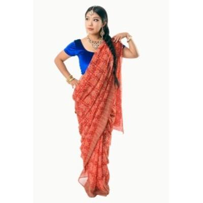 【8色展開】インド伝統模様バンディニプリントのインドサリー / 民族衣装 デコレーション布 更紗 レディース エスニック衣料 アジアンフ