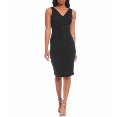カルバンクライン レディース ワンピース トップス Sleeveless V-Neck Glitter Knit Sheath Dress Black