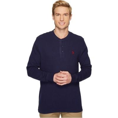 ユーエスポロアッスン U.S. POLO ASSN. メンズ 長袖Tシャツ ヘンリーシャツ トップス Long Sleeve Thermal Henley Shirt Classic Navy