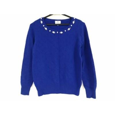 ランバンオンブルー LANVIN en Bleu 長袖セーター サイズ38 M レディース ブルー フェイクパール/ラインストーン【中古】20201101