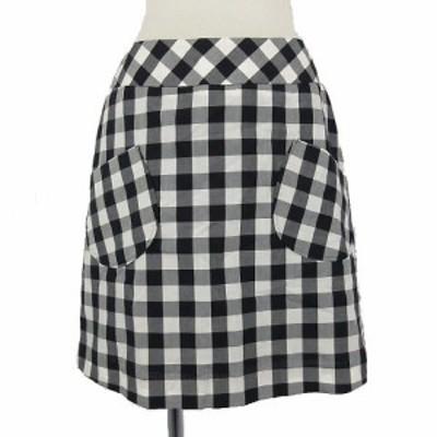 【中古】クチュールブローチ COUTURE BROOCH スカート ひざ丈 コットン混 白 黒 38 ブロックチェック レディース