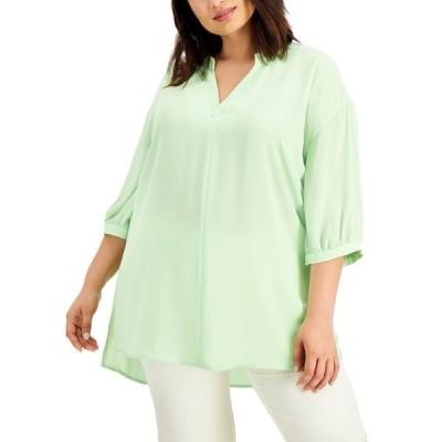 アルファニ カットソー トップス レディース Plus Size 3/4-Sleeve High-Low Top, Created for Macy's Pistachio Green