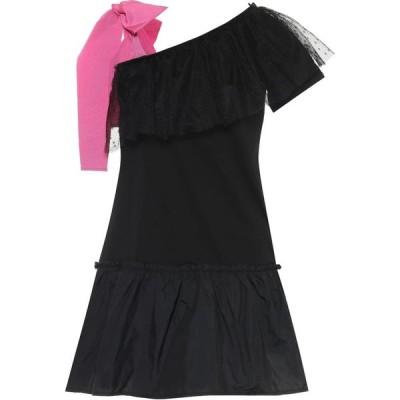 レッド ヴァレンティノ REDValentino レディース パーティードレス ワンピース・ドレス tulle-trimmed off-shoulder cotton minidress Nero