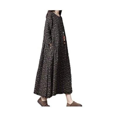 [シオン] ワンピース 長袖 花柄 チュニック フラワー ゆったり レディース MXL (ブラック L)