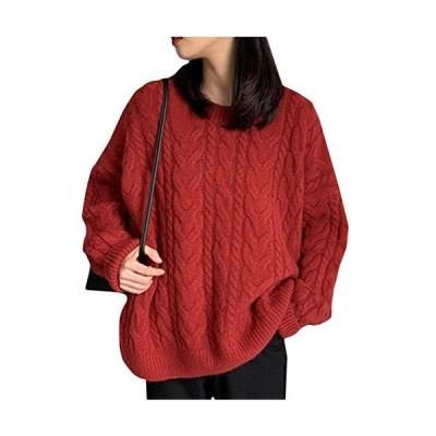 BeiBang(バイバン)ニット レディース 長袖 セーター ケーブル編み 丸首 プルオーバー 厚手 ゆったり トップス シ?