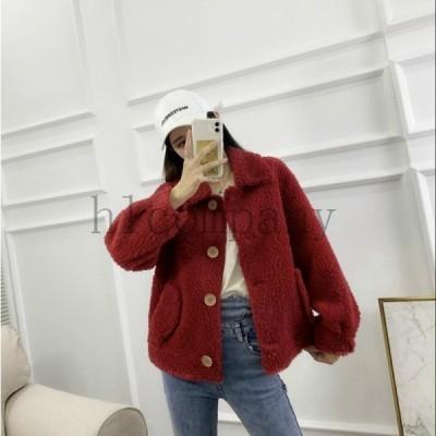フェイクファー女性おしゃれショートコート上着ジャケットアウター暖かい冬物レディースオフィスOL通勤防寒毛皮コート