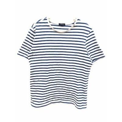 【中古】アーバンリサーチ URBAN RESEARCH Tシャツ ボーダー 半袖 40 青 ブルー 白 ホワイト /YK レディース