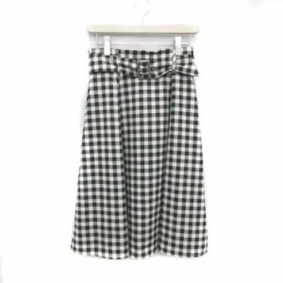 【中古】未使用品 ジャスグリッティー JUSGLITTY スカート ひざ丈 フレア ギンガムチェック ベルト付き 2  M 黒 白