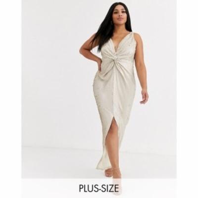 リトル ミストレス Little Mistress Plus レディース ワンピース ラップドレス マキシ丈 Wrap Front Sequin Maxi Dress In Cream And Gol