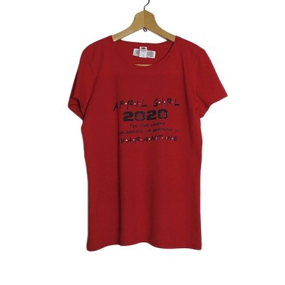 レディース Tシャツ デッドストック 新品 プリントTシャツ FRUIT OF THE LOOM 赤 Lサイズ