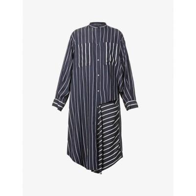 リト RITO レディース ワンピース シャツワンピース ワンピース・ドレス Striped cotton-twill shirt dress NVY