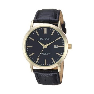 Sutton by Armitron Men's SU/5001BKGP Date Function Gold-Tone and Black Leather Strap Watch 並行輸入品