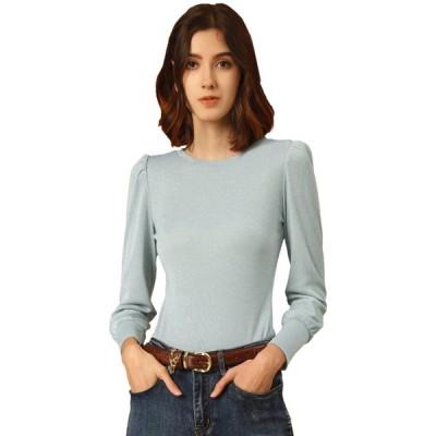 uxcell Allegra K カットソー 長袖tシャツ トップス スリム ニット パフスリーブ 丸首 レディース パステルブルー XS