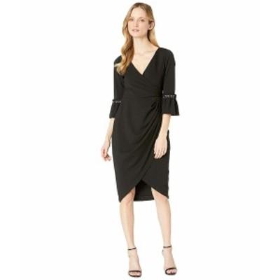 アドリアナ パペル レディース ワンピース トップス Pearl Sleeve Crepe Cocktail Dress Black