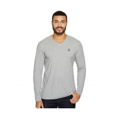 Psycho Bunny サイコバニー メンズ 男性用 ファッション Tシャツ V-Neck Long Sleeve T-Shirt - Heather Grey