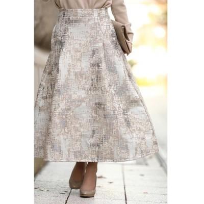 スカート 上品に魅せるツイード風タックスカートfrenchオリジナル/ジャガードスカート