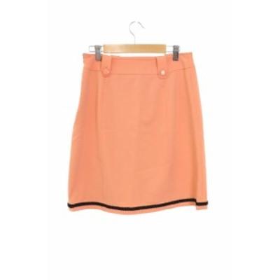 【中古】クイーンズコート QUEENS COURT スカート 台形 ひざ丈 パイピング 3 ピンク /MS レディース