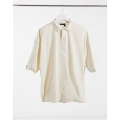 エイソス メンズ シャツ トップス ASOS DESIGN oversized half sleeve jersey shirt in beige Moonbeam