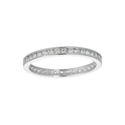 ジュエリー ファインリング 宝石 ストーン Decadence Sterling Silver Micropave Round-cut Cubic Zirconia Eternity Ring