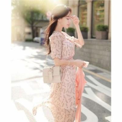 韓国 オルチャン ワンピース 花柄 ワンピース リボン シフォン ひざ下丈 ハイウエスト 半袖 可愛い 透け感