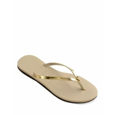 ハワイアナス レディース サンダル シューズ Women's You Metallic Slim Flip-Flops Sand Gray/Light Golden