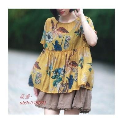 花柄Tシャツ 夏 レディース半袖Tシャツ 丸首 柔らかい 通気性よい 爽やか チュニック ギャザー フリル プリント 大きいサイズ 森ガール風