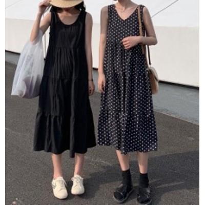オルチャン 韓国 ファッション ワンピース ロング丈 ティアード ドット柄 ノースリーブ Vネック ゆったり 大きいサイズ フレア ベーシッ