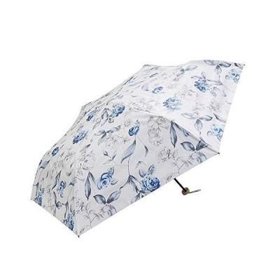 [マコッカ] 遮光率100% 遮蔽率99.9%以上 晴雨兼用 日傘 雨傘 軽量 折りたたみ傘 53cm バラ柄 オフホワイト