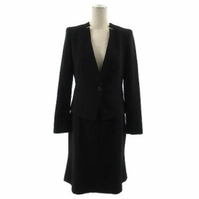 【中古】22オクトーブル 22 OCTOBRE ブラックフォーマル スカートスーツ ジャケット スカート ひざ丈 黒 36 38