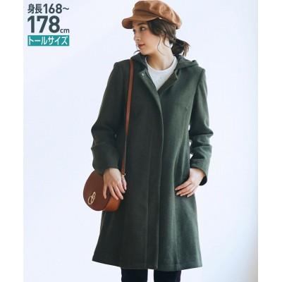 トールサイズ フードが取り外せるカットソーノーカラーコート 【高身長・長身】コート, tall size, Coat