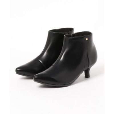 ブーツ サイド異素材切り替えショートブーツ/5センチヒール