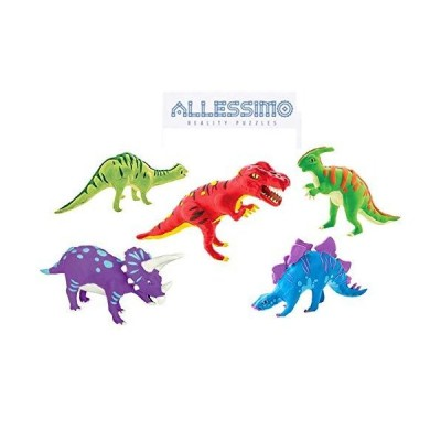 ALLESSIMO 3D Paint Puzzle & Clay Puzzle Kit - Jurassic Era Kit (Set of 5), Model Paint Kit with Brush, Toys for Kids Puzzle Build 3D Puzzles