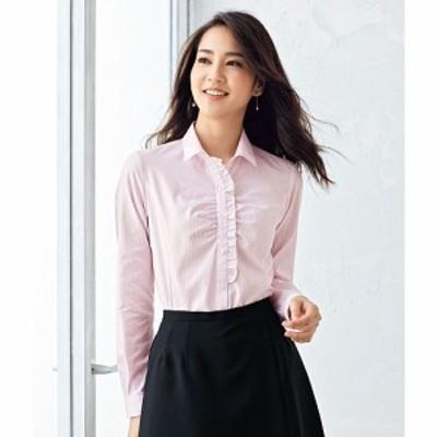 形態安定フリル使いシャツ(長袖)(抗菌防臭・UVカット・洗濯機OK) M L LL 1334-787728