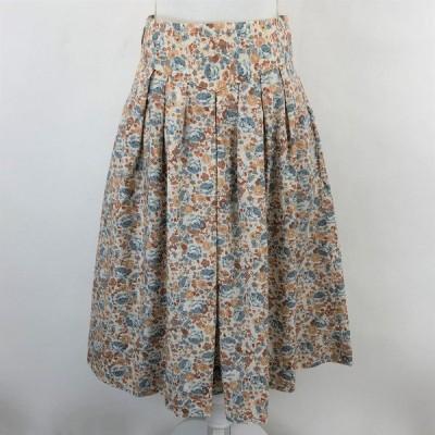 古着 花柄スカート プリーツスカート ヴィンテージ ベージュ系 レディースW27 中古 n022705