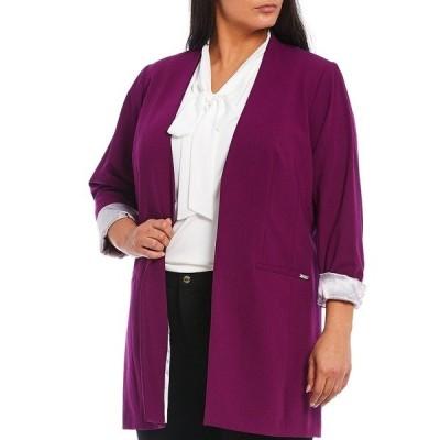 カルバンクライン レディース ジャケット&ブルゾン アウター Plus Size Lux Stretch Suiting Rolled Cuff Open-Front Topper Jacket Dark Purple