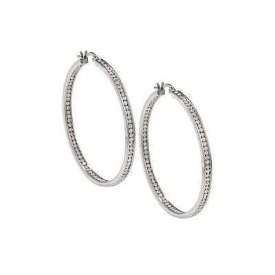 ラプレシオサ イヤリング La Preciosa Stainless Steel Crystals 50 mm Hoop Earrings