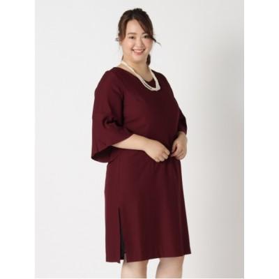 【大きいサイズ】【L-3L】【定番】ゆったりサイズ!フリル袖レーススリットドレス 大きいサイズ パーティドレス・ワンピース レディース