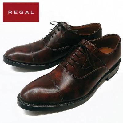 リーガル REGAL ビジネスシューズ ストレートチップ 牛革 ダークブラウン メンズ 01RR 2E