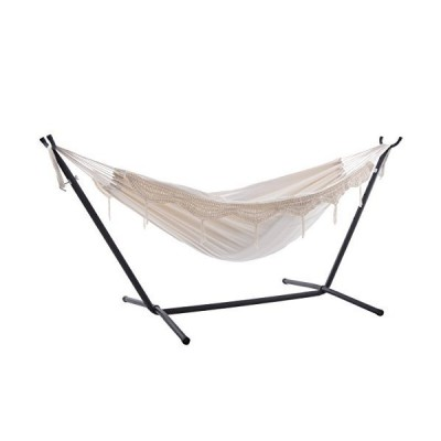 Vivere Double Hammock with Space Saving Steel Stand, Natural (450 lb Capacity - Premium Carry Bag Included)【並行輸入品】