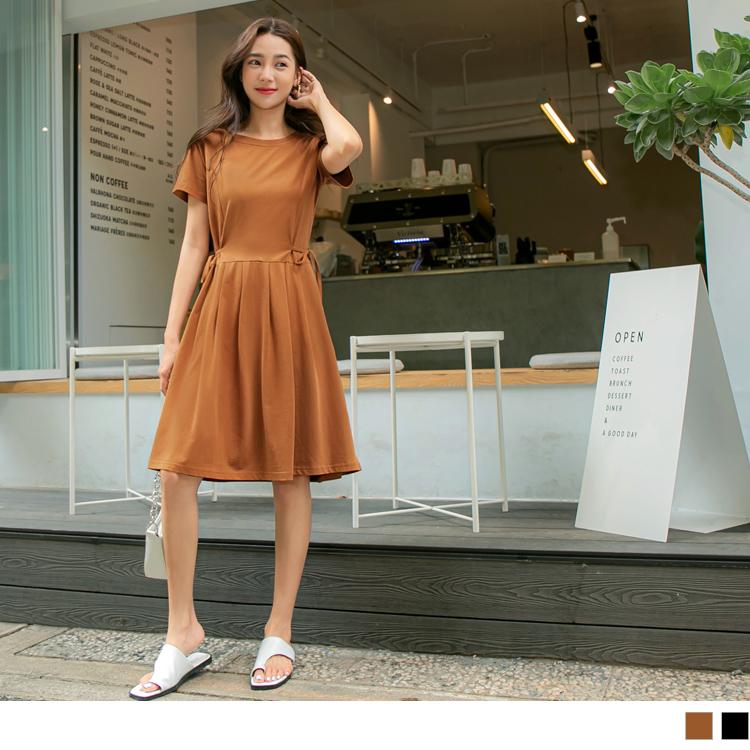 純色高含棉觸膚涼感收腰綁帶洋裝