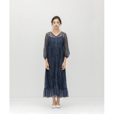 【スメラルダ】 フロントボタンレースドレス レディース ブルー F smeralda