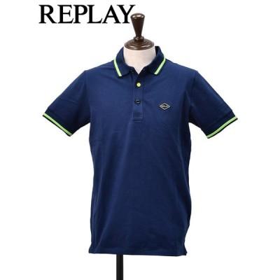 リプレイ REPLAY メンズ 半袖ポロシャツ ライン襟 ブルー&ライムグリーン 半袖 スリット入り 鹿の子 国内正規品 ブランド