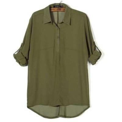 トップス シャツ ブラウス スキッパーシャツ 長袖 ロールアップ袖 無地 シースルー 透け感 涼感 ゆったり 大きいサイズ 体型カバー 大人