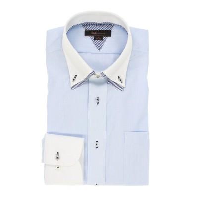 【タカキュー】 形態安定レギュラーフィット2枚衿ドゥエボタンダウン長袖ビジネスドレスシャツワイシャツ メンズ サックス LL:43-86 TAKA-Q