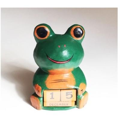 ほっこりかわいい アニマル カレンダー〈 カエル 〉 木彫り オブジェ アジアン雑貨 インドネシア バリ 蛙 かえる ケロ