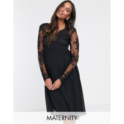 チチロンドン レディース ワンピース トップス Chi Chi London Maternity lace midi dress with sheer sleeves in black