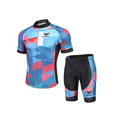 nine bull メンズ サイクリング ジャージセット - 反射 速乾 サイクリングシャツ 3Dパッド入りサイクリングバイクショーツ US サイズ:好評販売中